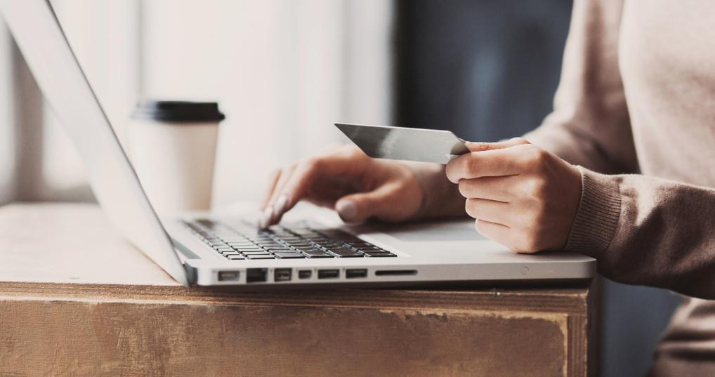 online shopping with laptop and credit card