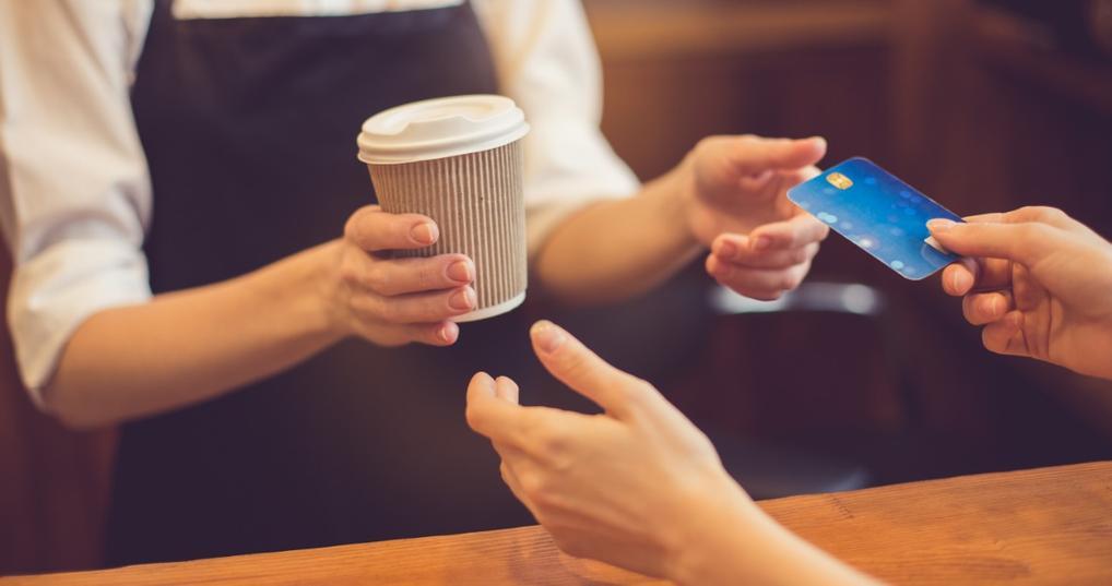 Buying coffee using debit card