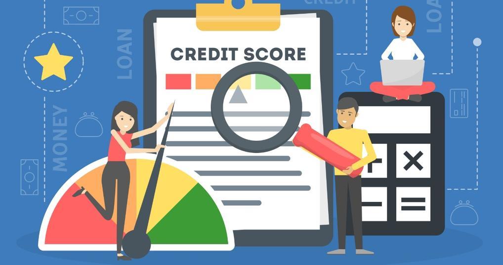 Illustration of credit score improving