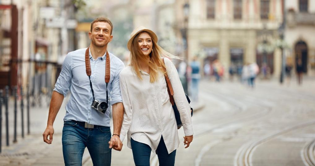 A young couple traveling together