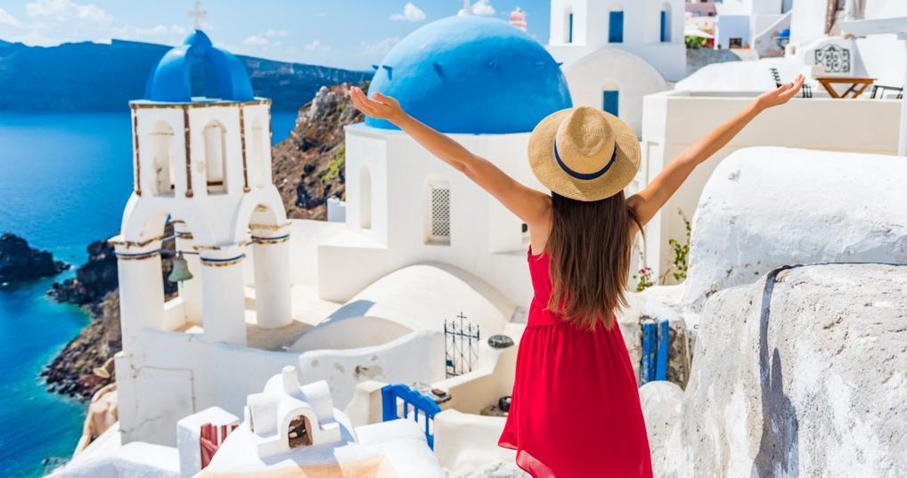 Female traveler in Santorini