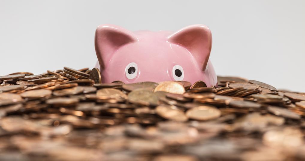 Piggy bank in pennies
