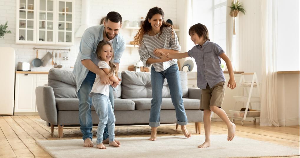 family at home celebrating