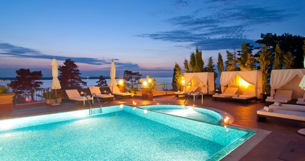 Hotel pool at dusk