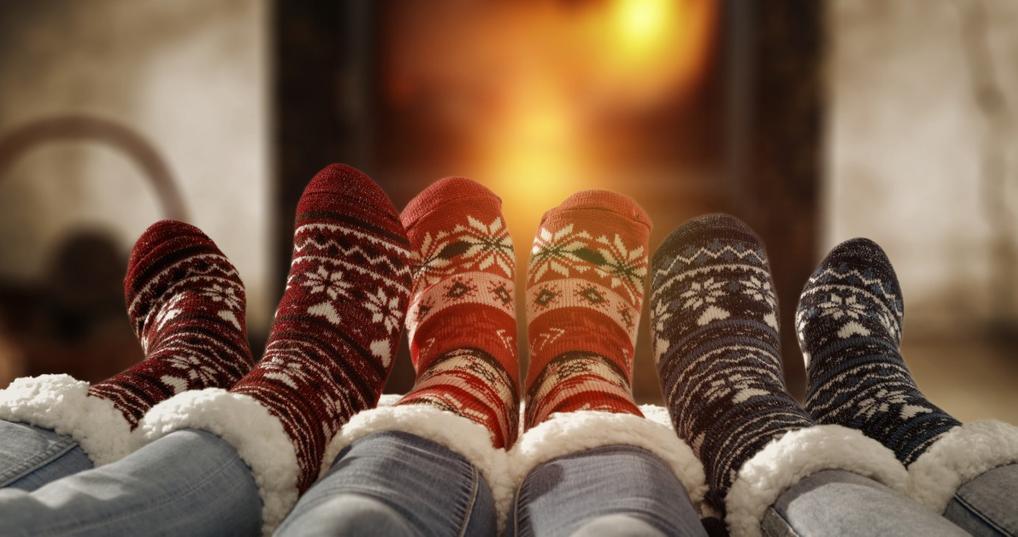 cozy feet by fire