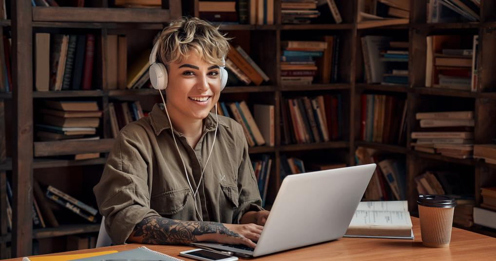 Woman in office using computer