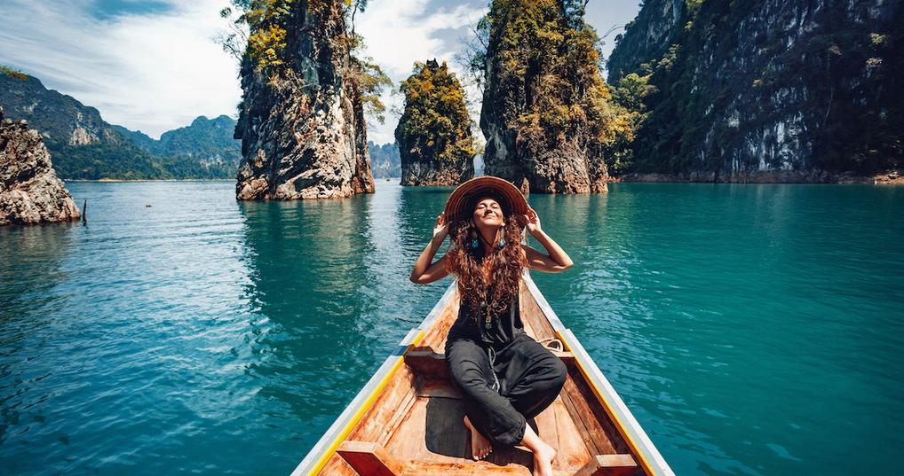 Happy woman on boat