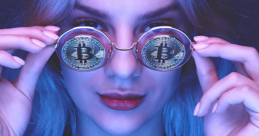 woman with glasses bitcoin purple