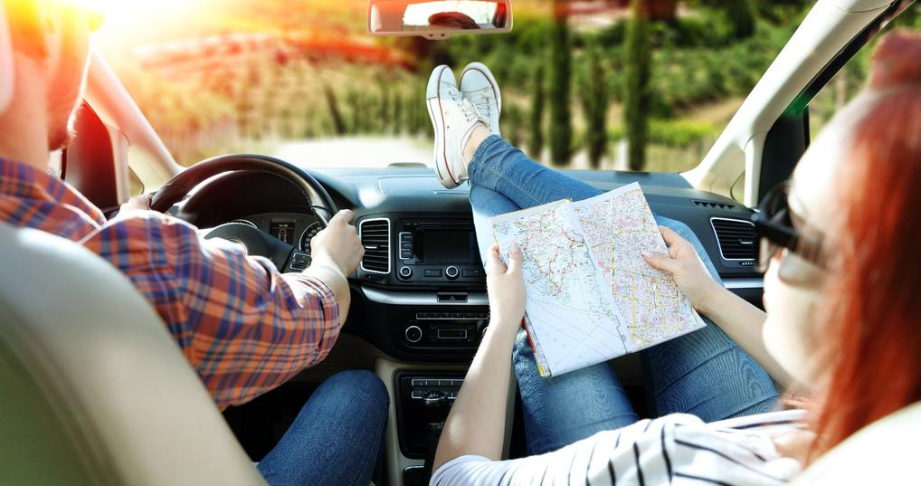 Travelers on a road trip