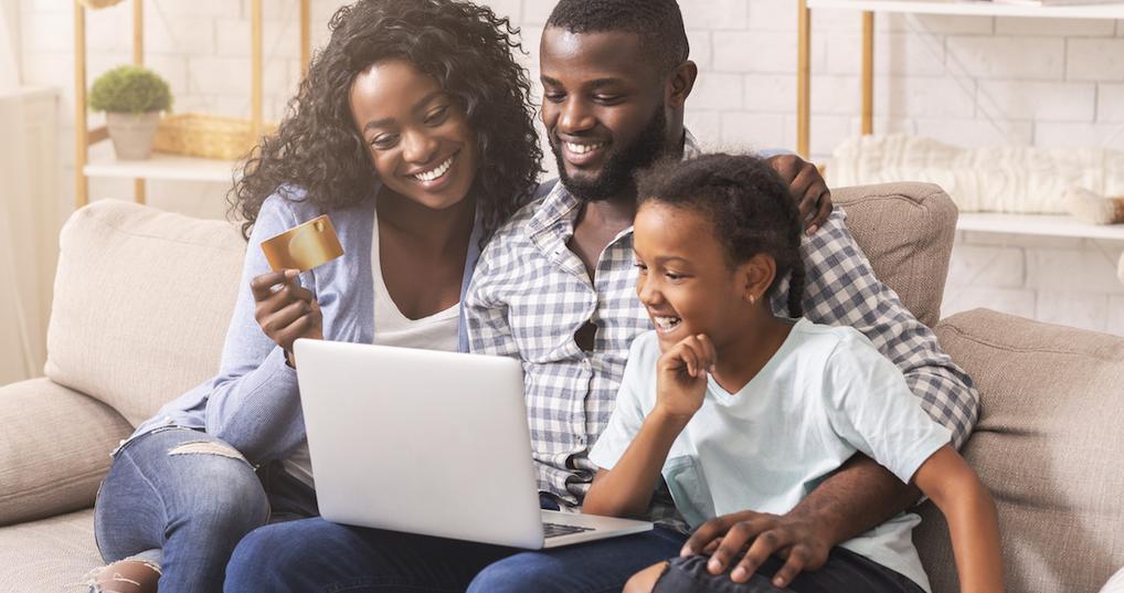 Family using debit card