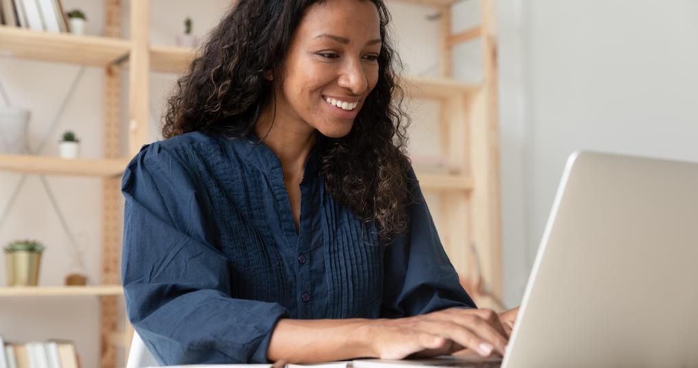 Woman looking at retirement accounts