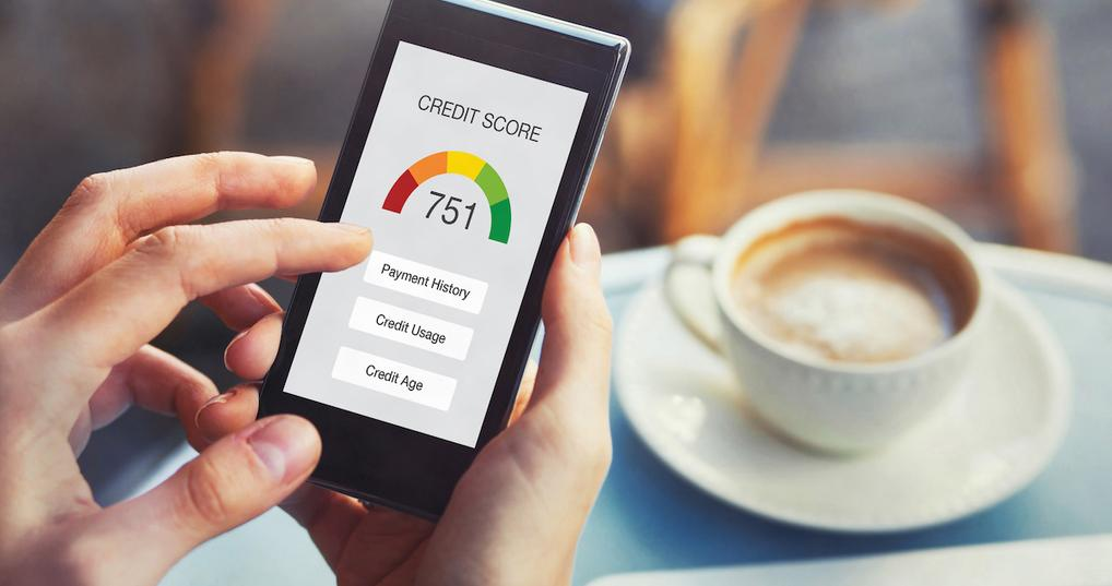 Person viewing credit score