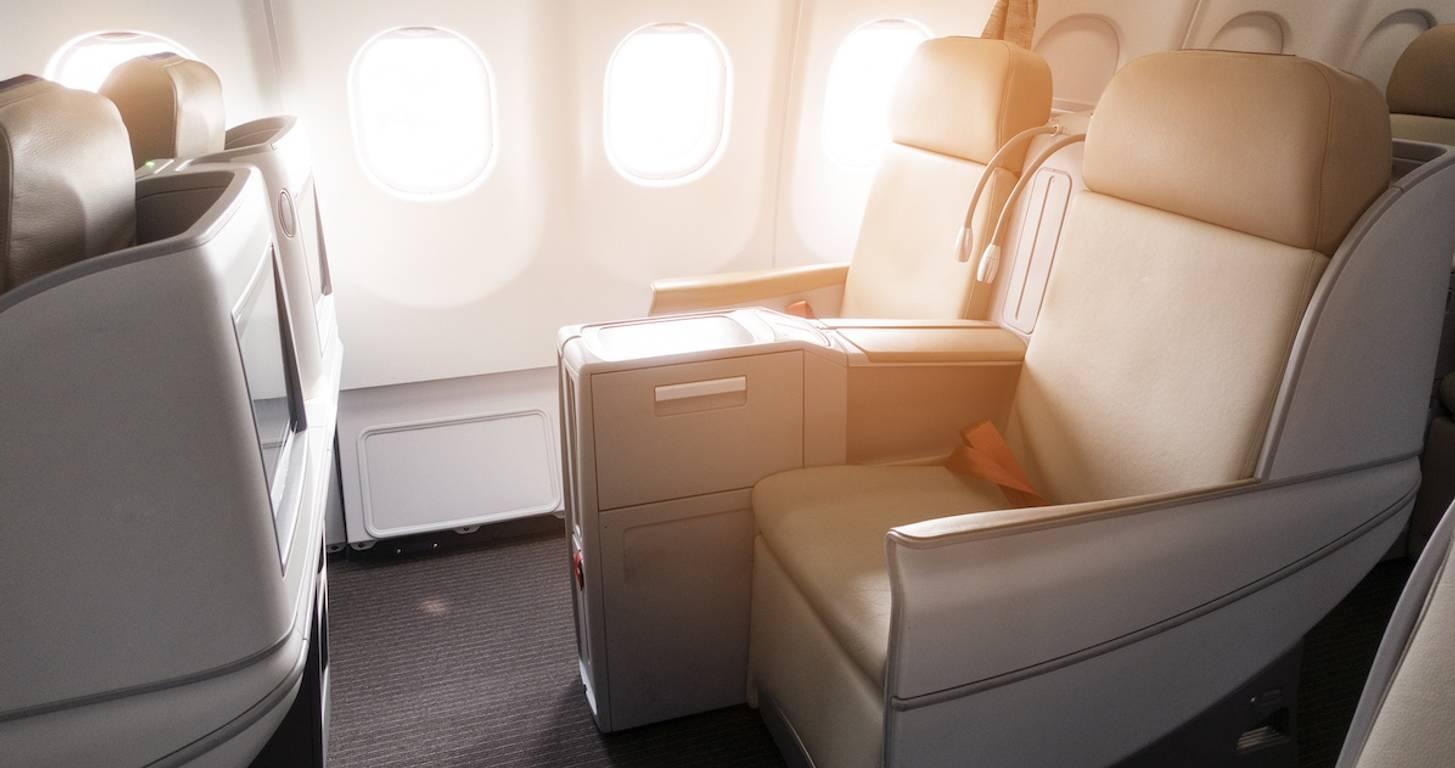 businessman enjoying free first class travel