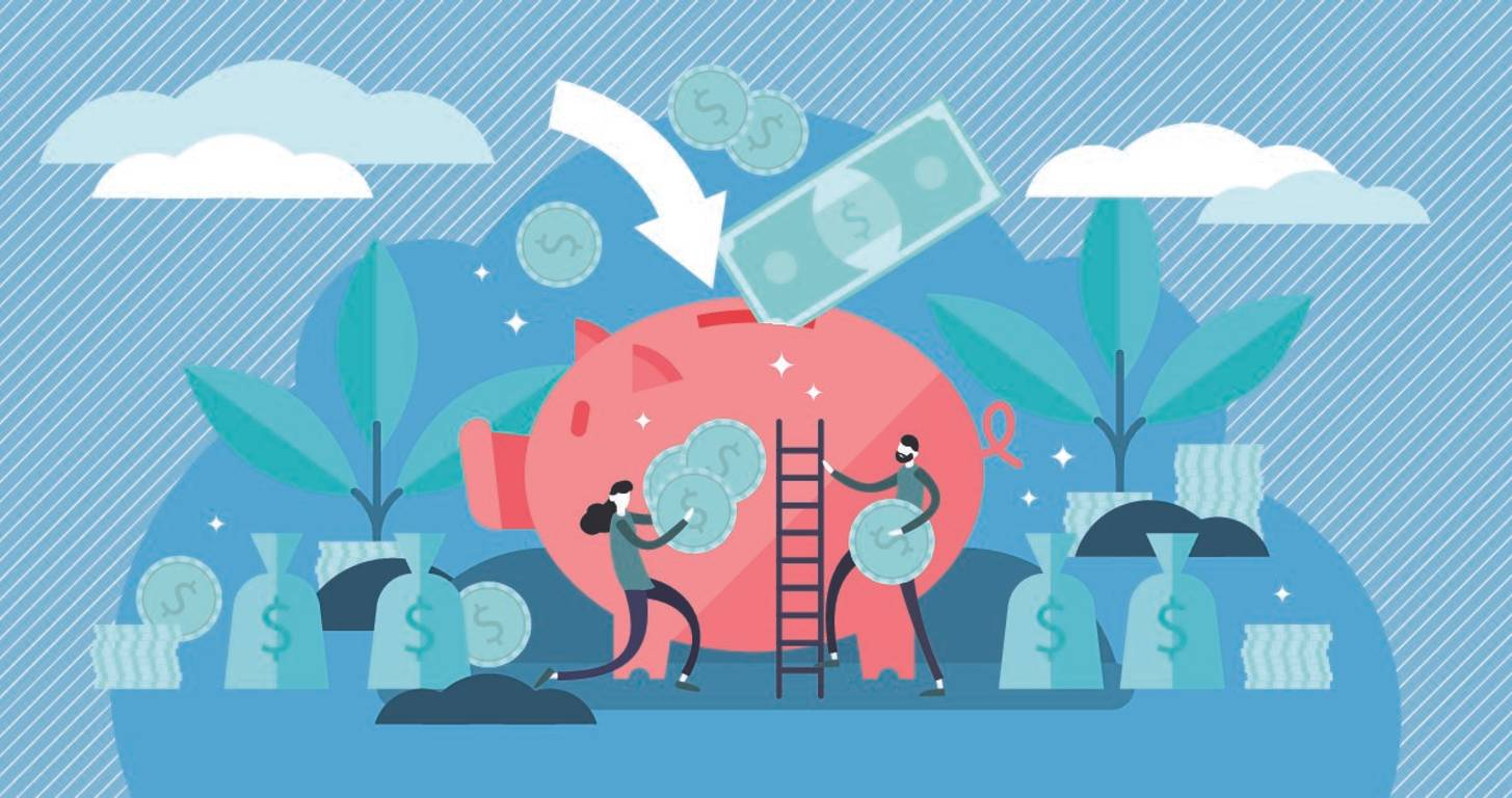 Illustration of people adding money to a big piggy bank