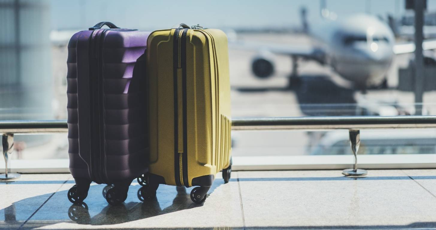 Two suitcases at the airport