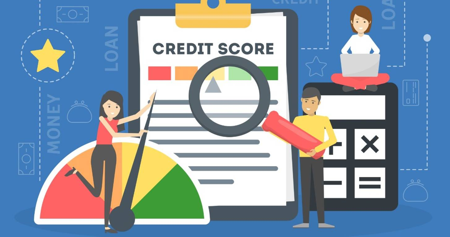 Illustration of credit score improving