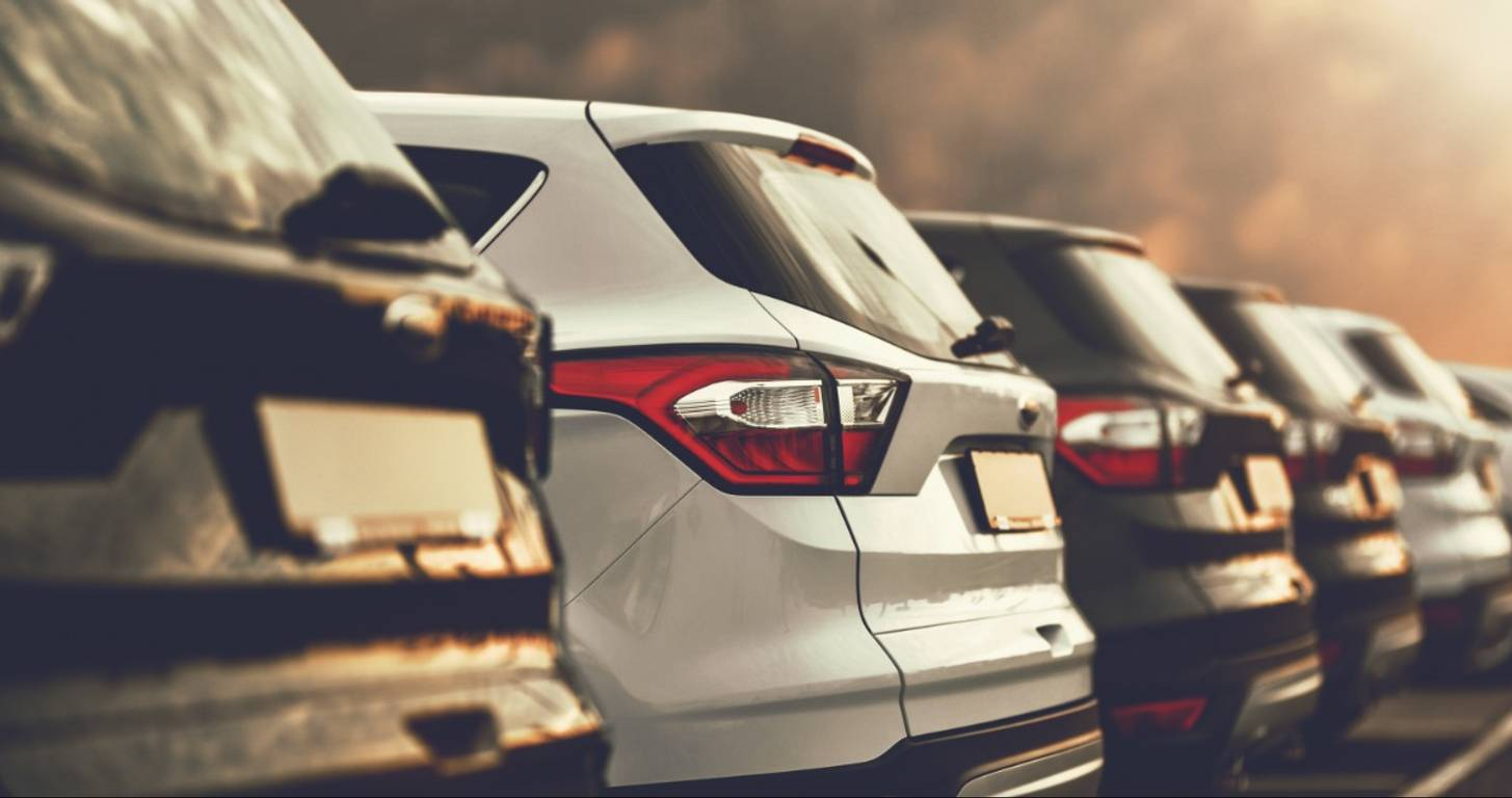 A row of rental cars