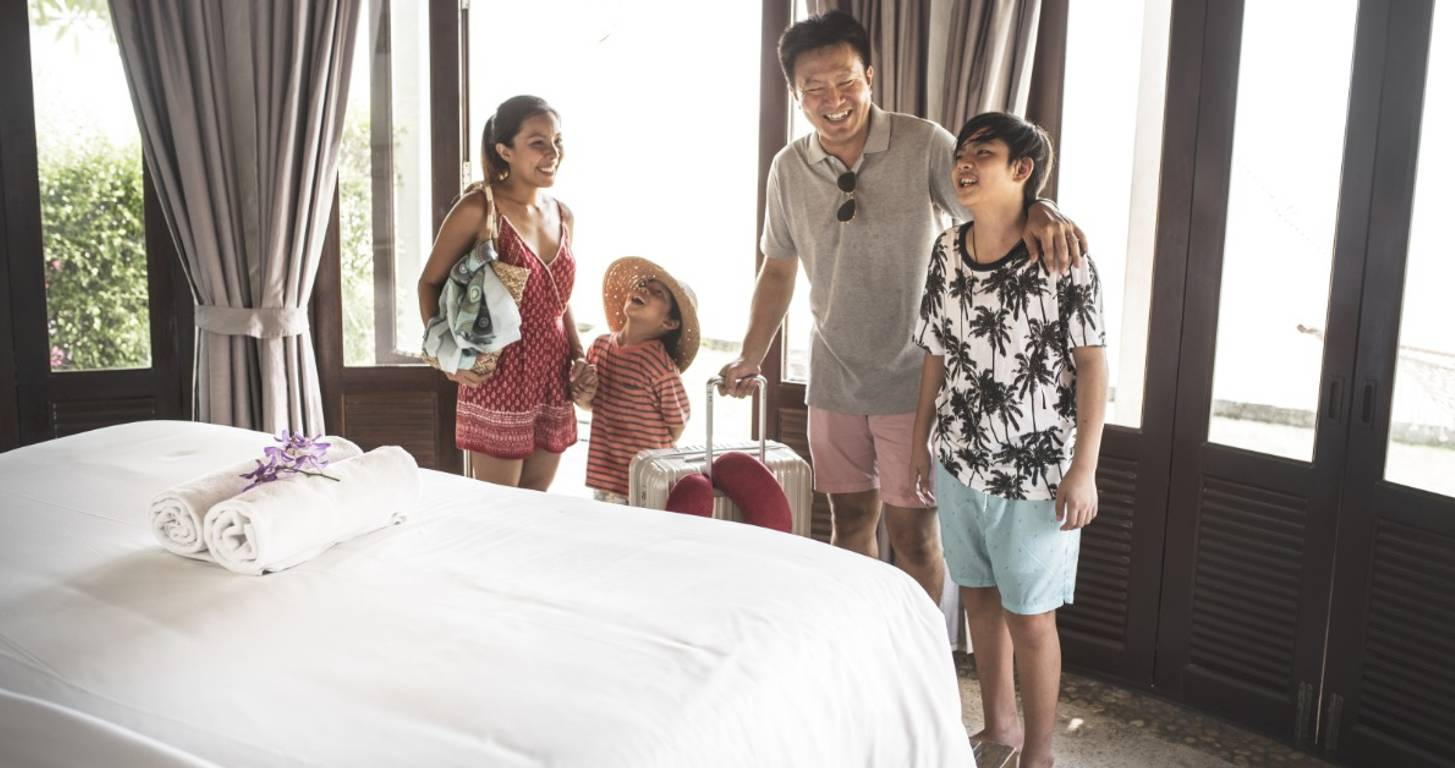 A family staying in a hotel