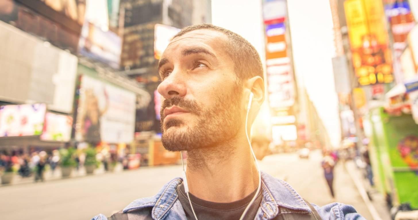 Male tourist in Times Square