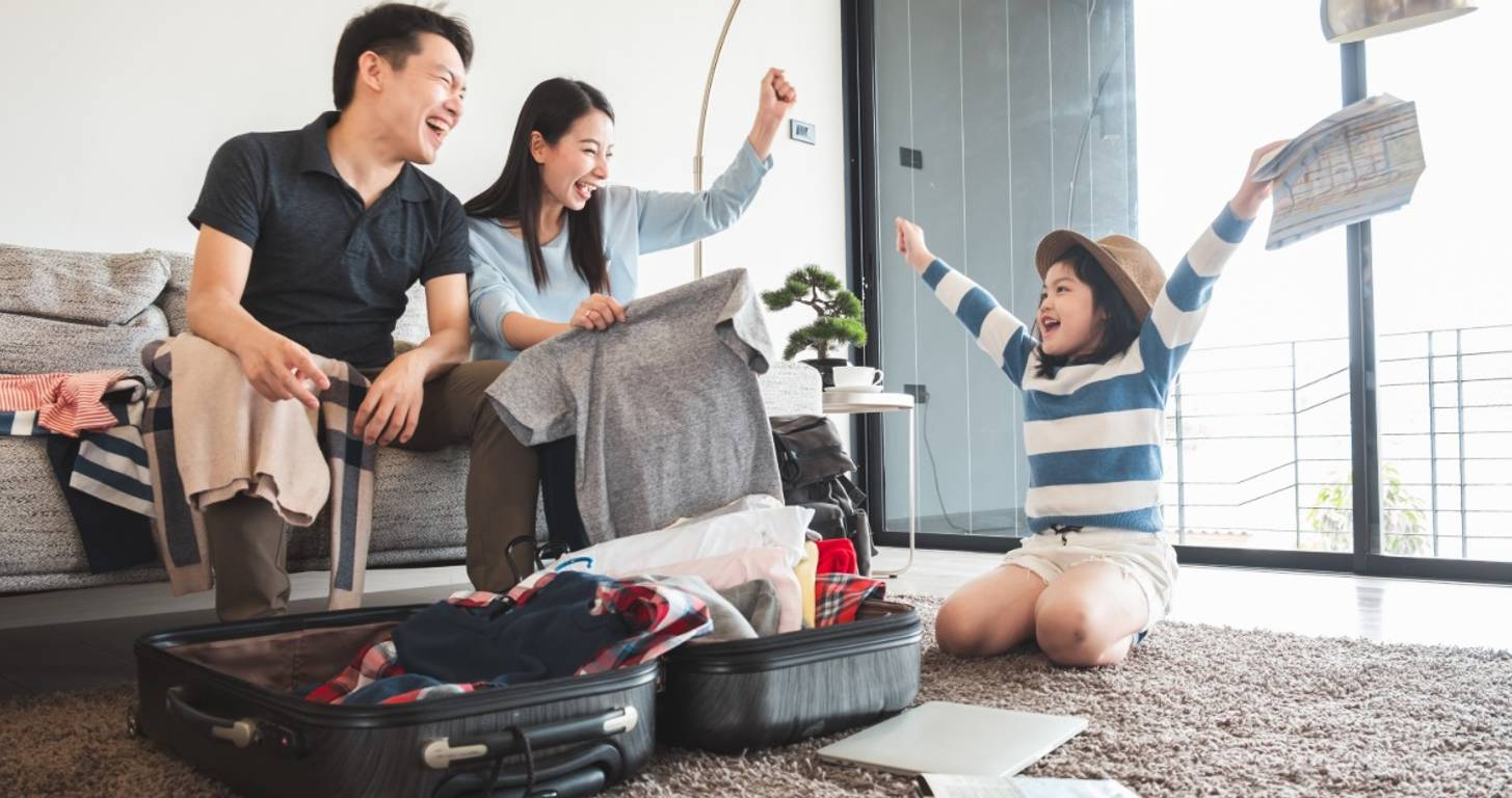 Family enjoying hotel stay