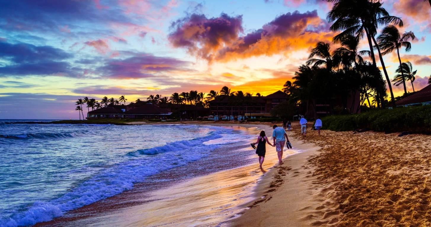 Beach in Hawaii at sunset