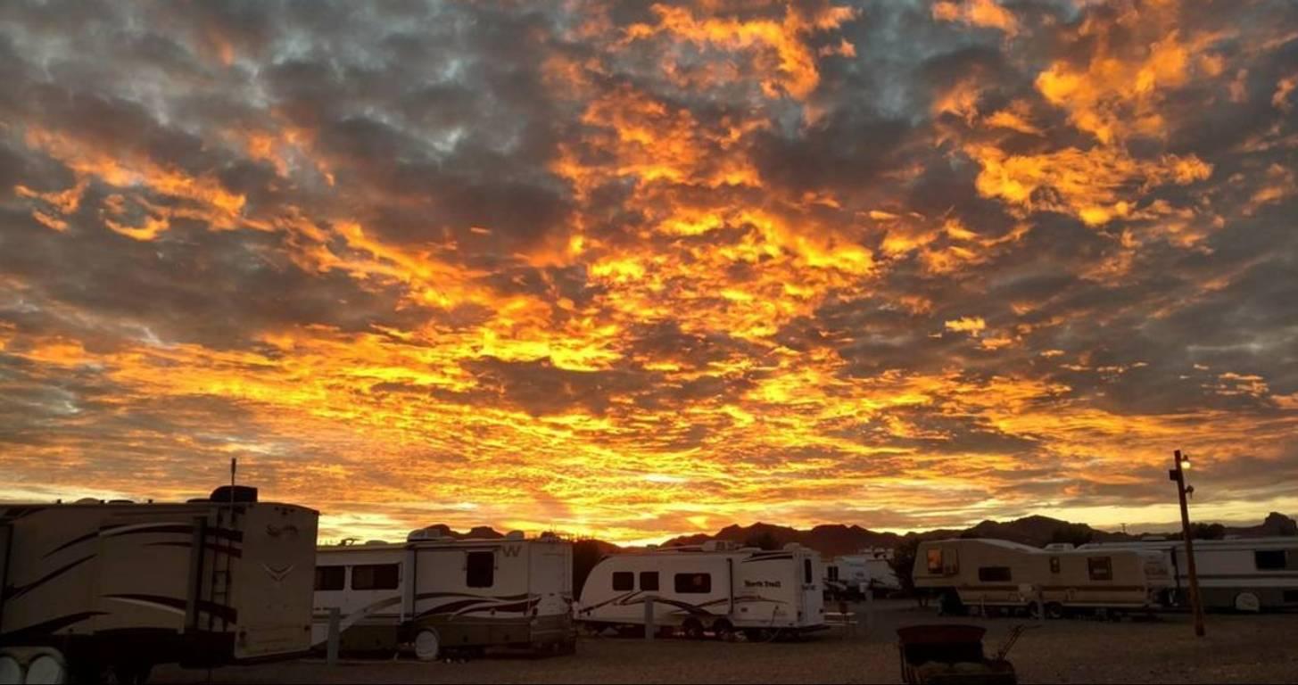 Sunset over RV park