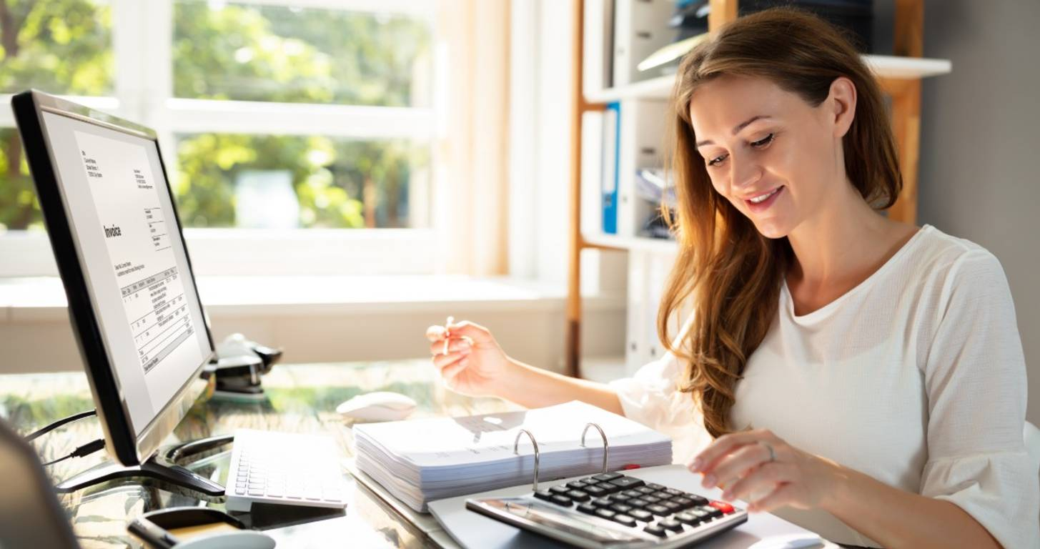 Female business owner reviewing finances