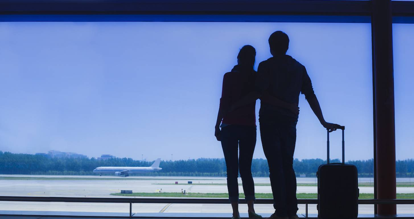 Couple waiting at airport