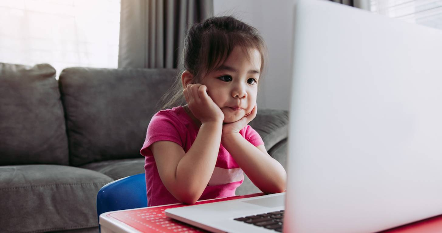 Child virtual learning on laptop