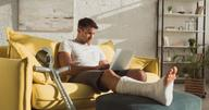 Man with leg cast