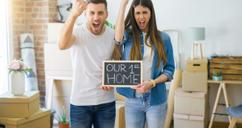 Excited couple in first home