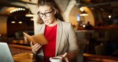 Woman surprised by restaurant bill