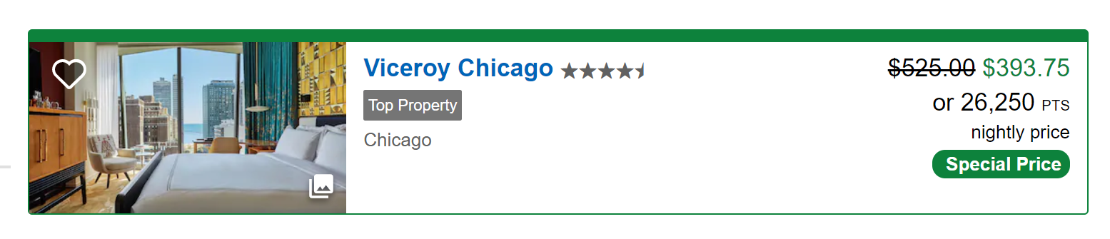 Viceroy Chicago redemption options