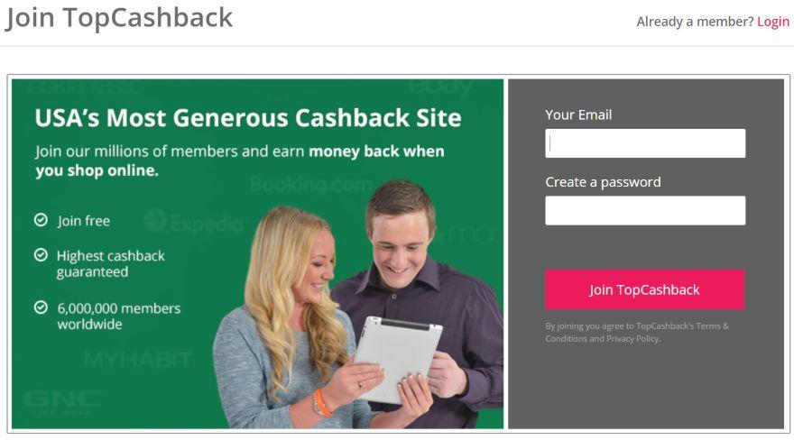 Topcashback review signup screen