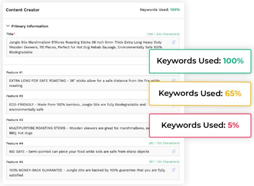 Keyword scout, rank tracker, and listing builder