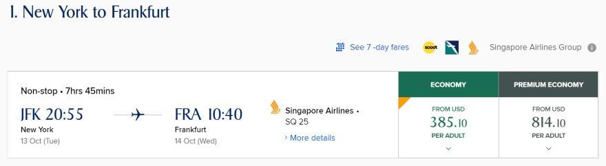New York to Frankfurt for $385.10 or 22,500 KrisFlyer miles