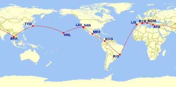 AeroMexico (SkyTeam Alliance) RTW Route