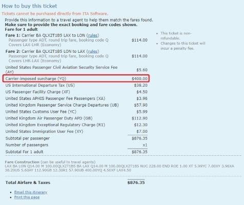 Airline Fuel Surcharges