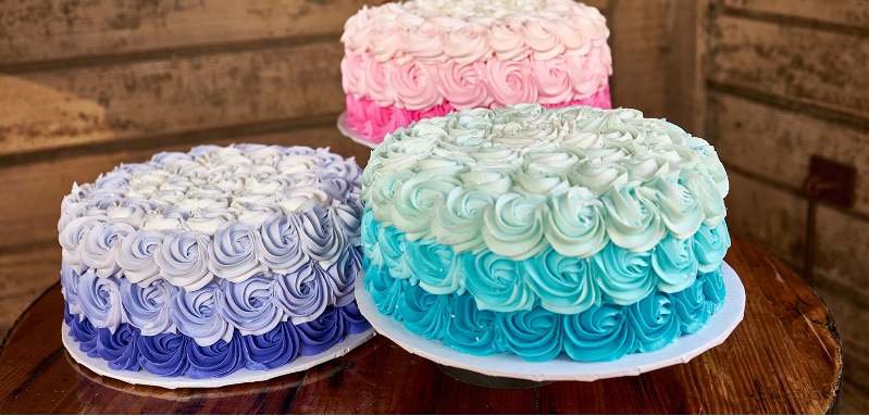 Three frosted cakes from Ghost Town Bakery at Knott's Berry Farm