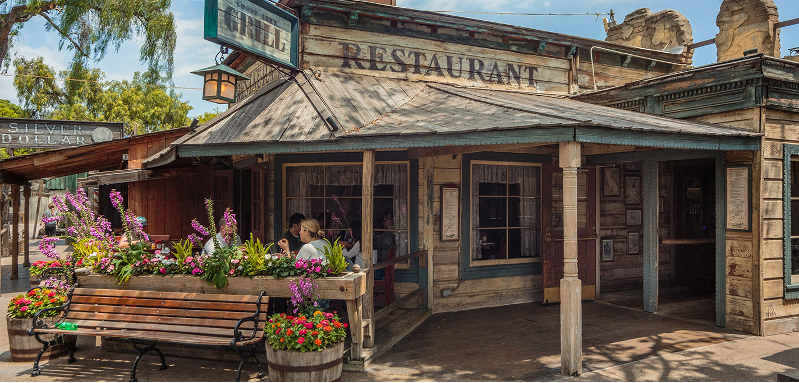 The outside of Ghost Town Grill at Knott's Berry Farm